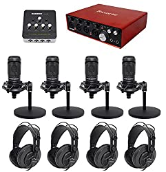 Podcasting Podcast Bundle W(4) Audio Technica Mics+headphones+weighted Stands