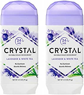 product image for Crystal Lavender and White Tea Invisible Solid Deodorant (Pack of 2) With Mimosa Leaf, Sweet Violet Extract, Lotus Blossom and Orange Peel Extract, For Long-Lasting, 24-Hour Protection, 2.5 oz.