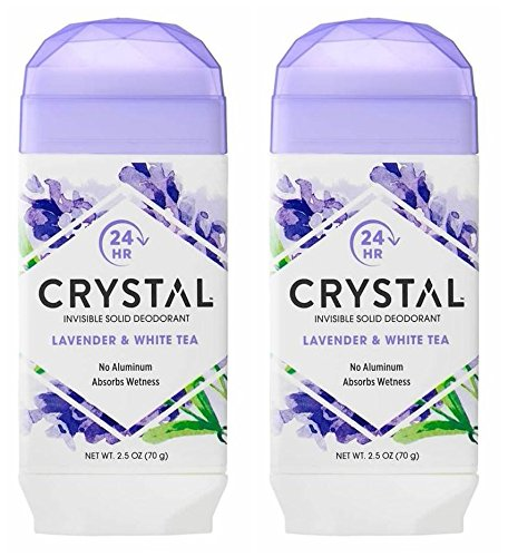 (Crystal Lavender and White Tea Invisible Solid Deodorant (Pack of 2) With Mimosa Leaf, Sweet Violet Extract, Lotus Blossom and Orange Peel Extract, For Long-Lasting, 24-Hour Protection, 2.5 oz. )