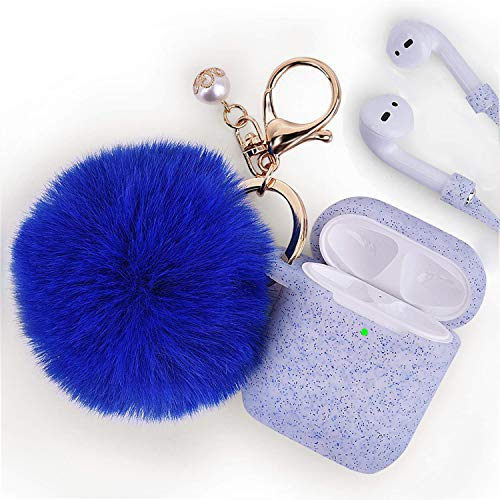 Airpods Case - Filoto Airpods Silicone Glitter Cute Case Cover with Pompom/Keychain/Strap for Apple Airpods 2&1, 2019 Newest 360° Protective Air Pods Charging Case Cover (Glitter Sapphire Blue)