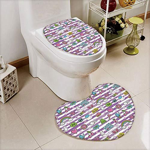 2 pcs Toilet Cover Set Non-Slip mat Bathroom