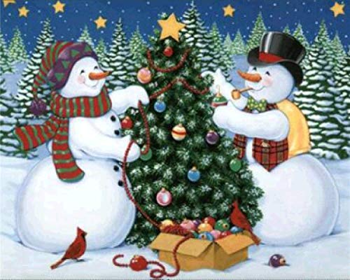 (5D Diy Diamond Painting - Resin Cross Stitch Kit - Crystals Embroidery - Home Decor Craft - Happy Snowman,9.8 X 11.8)