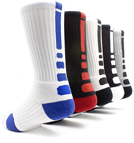 [5 Pairs]Men's Sports Socks Basketball Football Athletic Crew by JiYe, Assorted Colors, Shoe Size:Mens 6-10 Womens - Guide Size Mens