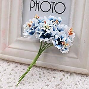 GSD2FF 6pcs Silk Gradient Stamen Artificial Flower Bouquet for Wedding Decoration DIY Decorative Wreath Fake Flowers,Red 3