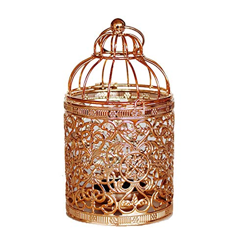 Qingsun Metal Tealight Candle Holder Lanterns Creative Wedding Home Table Decoration Birdcage White (Rose Gold)