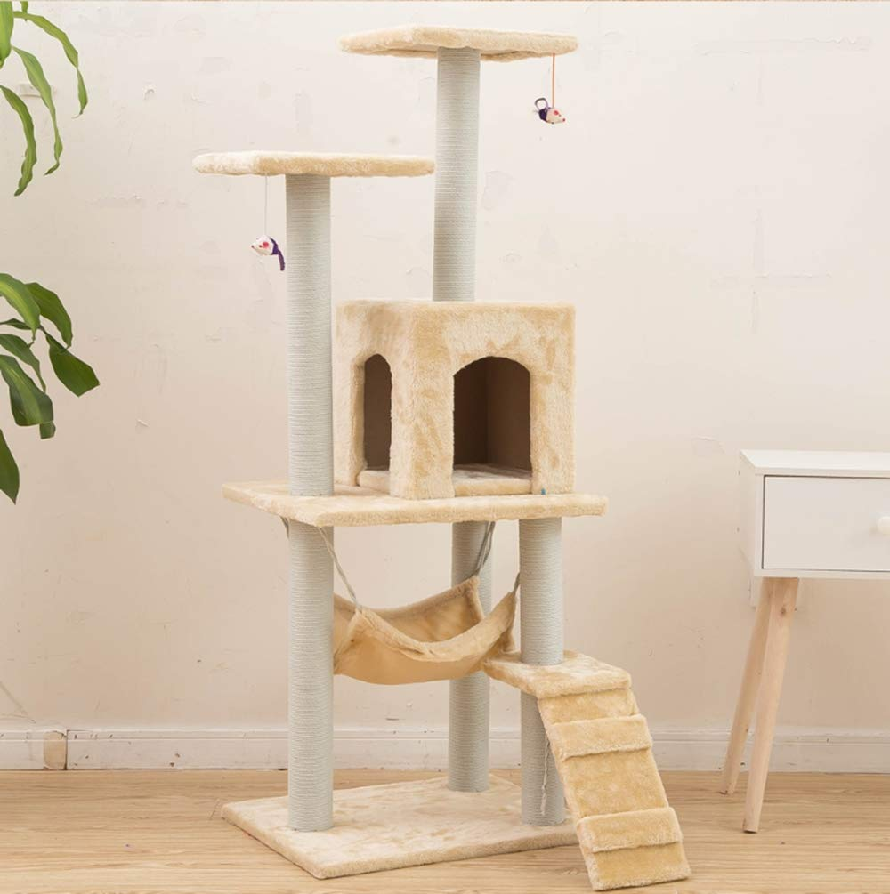 F Pet Club Cat TreePractical Sisal Cat Tree Furniture, Cat TreeFrame, Pet Three-Layer Cat Frame Cat Tree,F