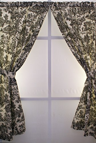 The Curtain Shop Classic Victorian Toile 68Wx84L Panel Pair-Black