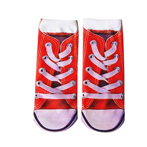 Hot ! Athletic Socks, Ninasill Man's Womens 3D Printed Funny Crazy Novelty Low Cut Ped Cute Athletic Socks (Free Size, Red)