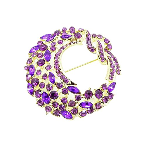 Qtalkie Crystal Flower Brooches Women's Elegant High-Grade Flower Rhinestone Brooch Pin save more