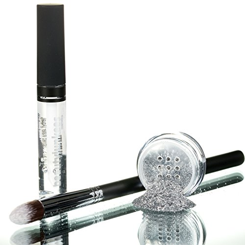 Razzle Dazzle Silver Cosmetic Grade Loose Glitter Makeup Kit with Brush and Glue, Extra Fine, Safe for Eyes, Face, Skin, All Over Body, Paraben Free, Gluten Free, Cruelty Free, Made in USA