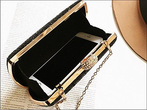 Sac main brillante en paquet brillant en diamant diamant diamant le paillettes paquet sac Couleur tenant à banquet embrayage soirée Noir Noir main sacs obliques cuir rqxprnwt