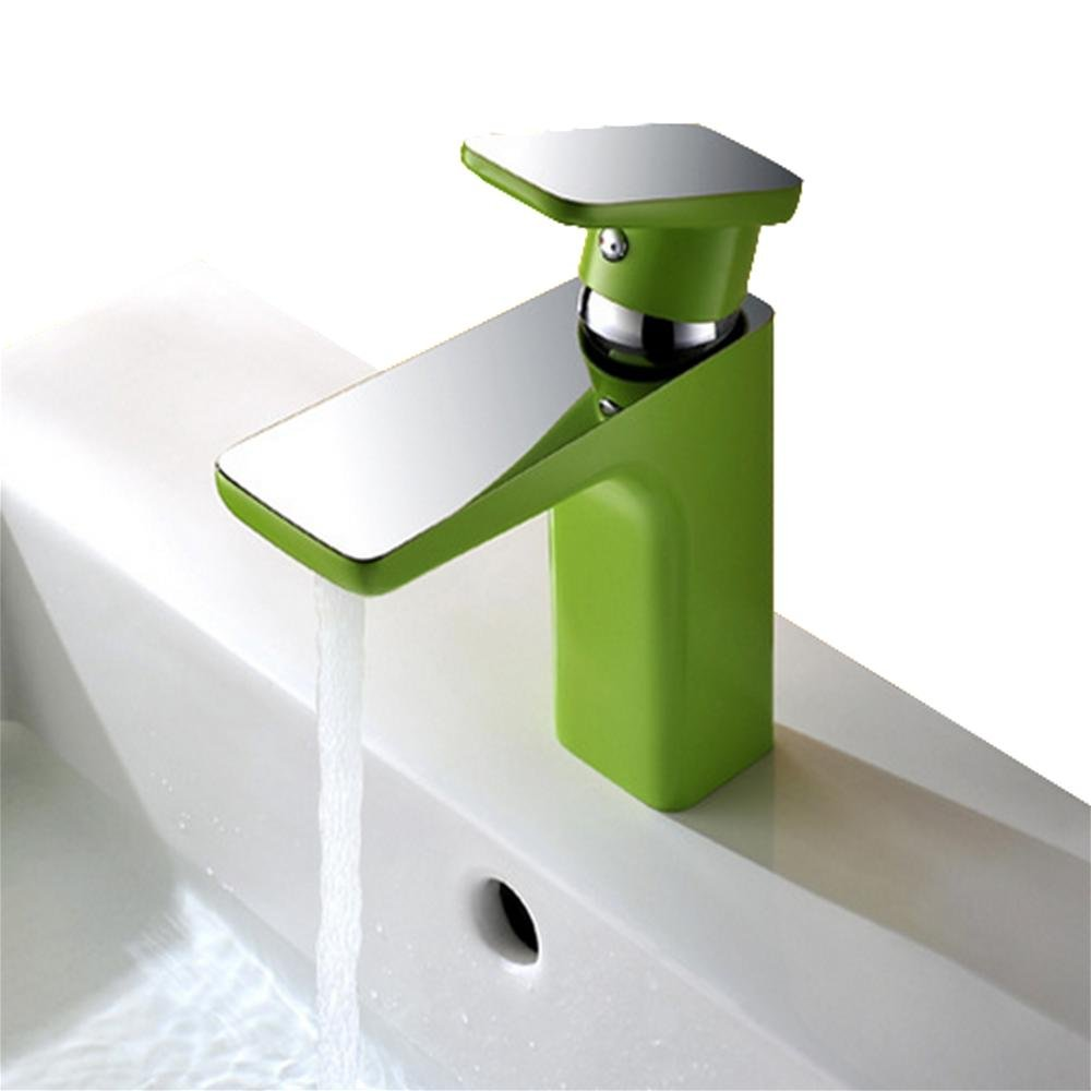 Apple Green QJIAXING Basin Faucet Bathroom Faucet Hot and Cold Mixed Faucet Full Copper color Faucet