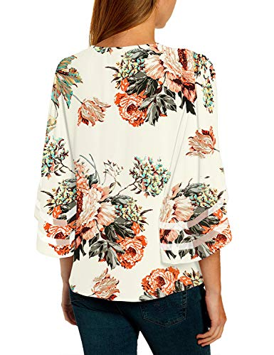 luvamia Women's Casual V Neck Blouse 3/4 Bell Sleeve Mesh Panel Shirts Loose Top 2