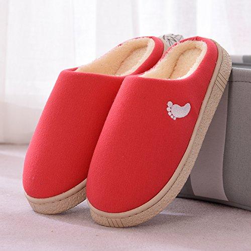 Inverno fankou paio di pantofole di cotone femmina spessa coperta calda antiscivolo home soggiorno pantofole uomini e ,35-36, rosa intenso