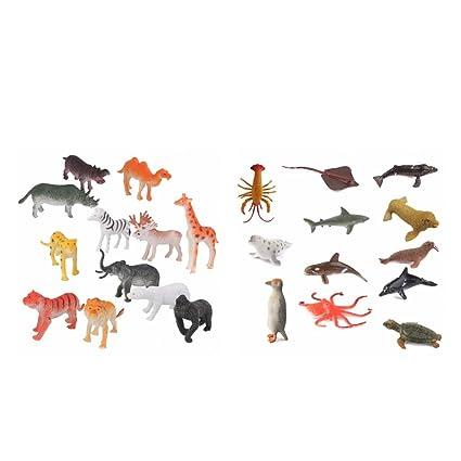 Baoblaze 24pcs Juguete de Figuras Animales Marinos y Salvajes de