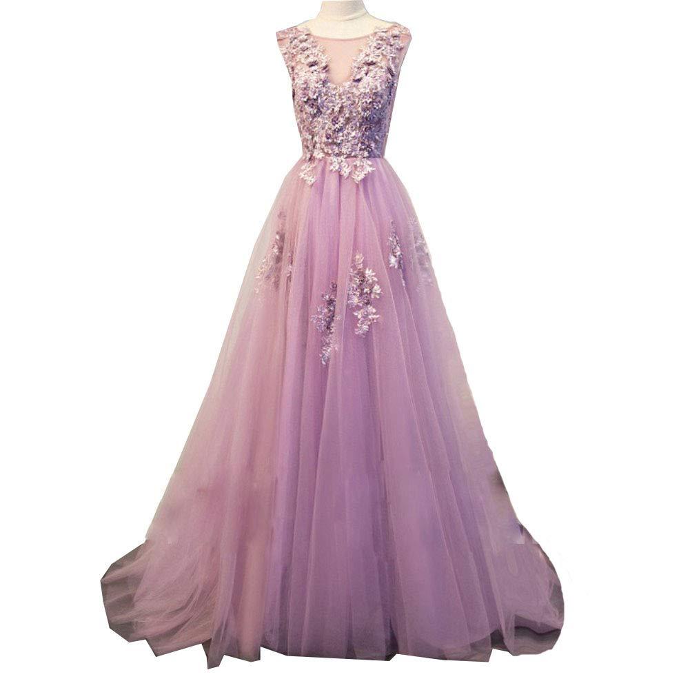 purplec Liaoye Women's Long 2018 Prom Dresses VNeck Tulle Lace Appliques Evening Gowns Party Dress