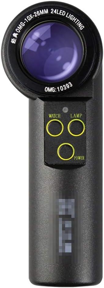 DLT Lupa de Lupa para joyeros OMG 10X / 20X, Lupa de tamaño de Bolsillo, Lente Ajustable, luz Blanca y luz cálida LED de Anillo, Lupa con Soporte, teléfono con Imagen, Negro