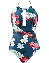 Women's One Piece Swimsuits Tummy Control Swimwear Slimming Monokini Bathing Suits for Women Backless V Neck Swimsuit