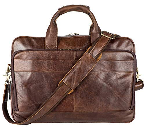 Vintage Leather Briefcase Messenger Bag for Men with Padded Protection Fits 15.6 Inch Laptop