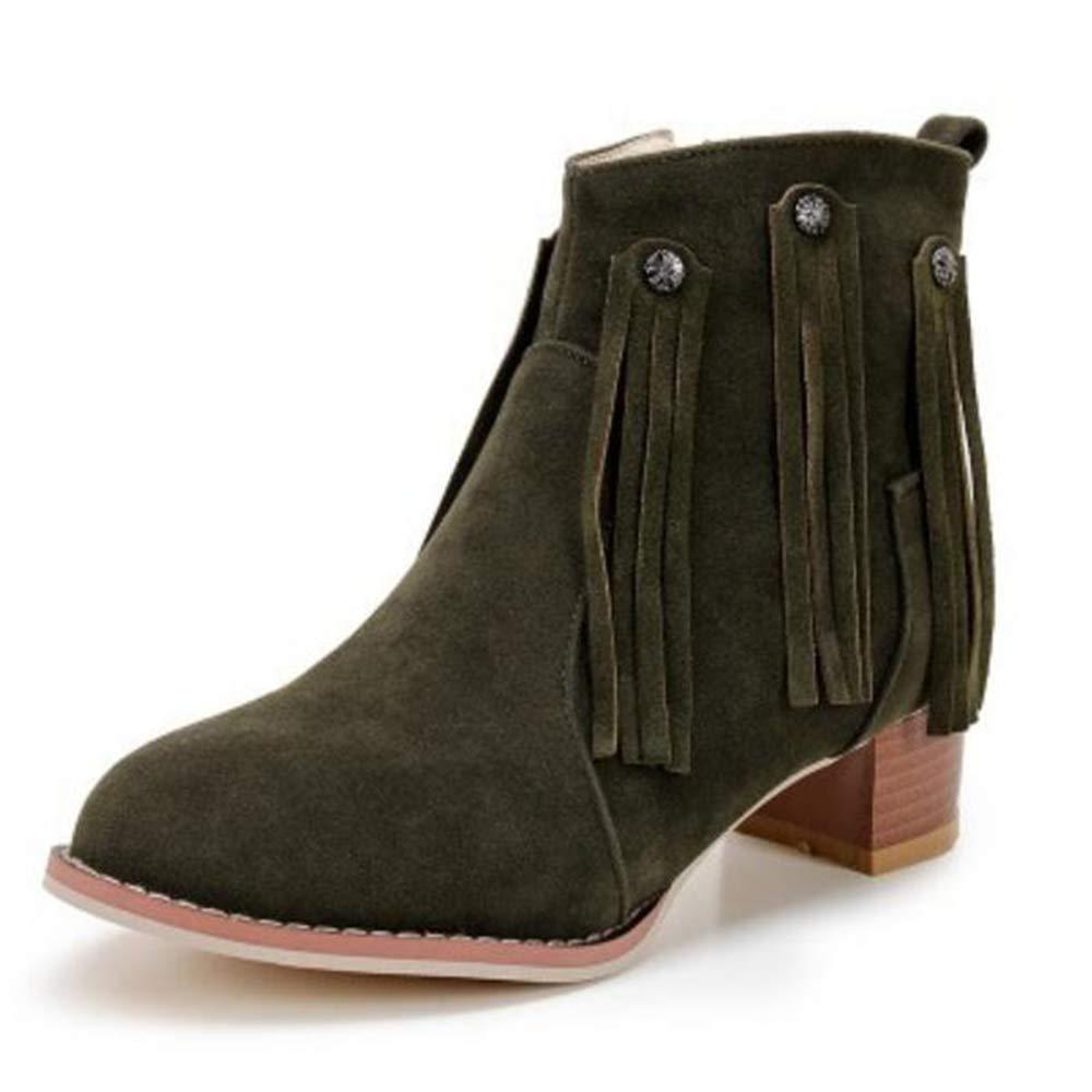 CITW Herbstliche Damenstiefel Brüten Stiefel Mit Großformatigen Damen Stiefeln Gefrostete Damenstiefel-Mode Stiefel,Grün,UK5 EUR39