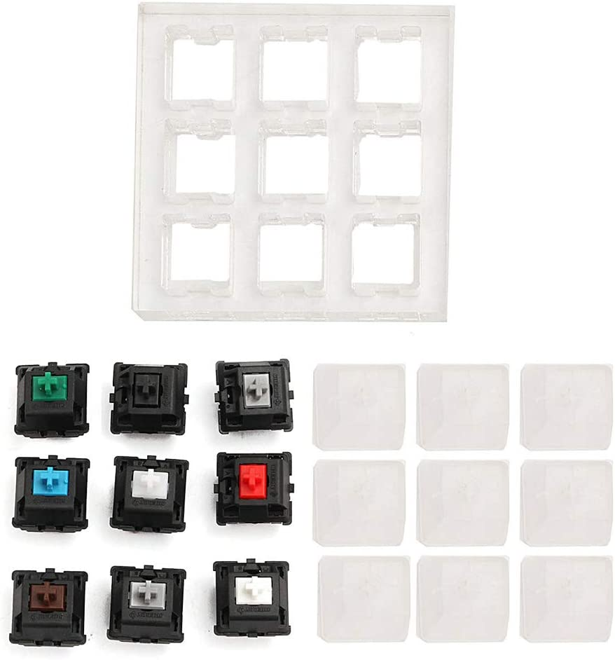 Keypad 1 Pcs Acrylic Keyboard Tester 9 Clear Plastic Keycap Sampler for Cherry MX Switches Finetoknow Keyboard