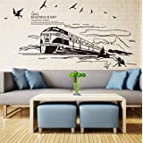 Pbldb The Scenery Out of The Train Wall Art Mural Decor Sticker Flying Birds Clouds Train Railway Track Trees Road Wallpaper Applique 60X90Cm