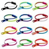 12 Pc Assorted Mixed/Neon Color Zipper Zippy Zip Zap Friendship Bracelet