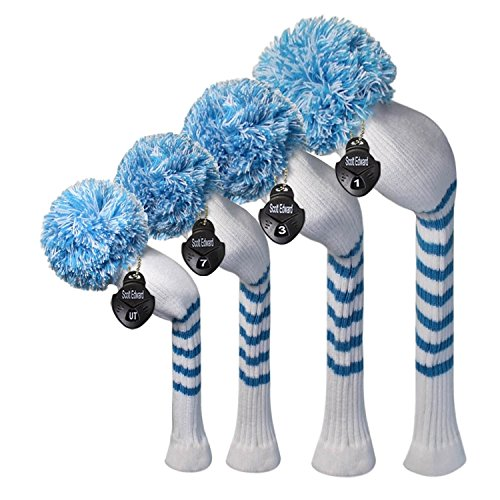 Scott Edward White Color Blue Stripes Golf headcovers,Set of 4, for Driver(460CC) 1, Fairway wood2 and Hybrid(Utilities) 1. with Rotating Number Tags, Big Pom Pom, Heavy and Thick.
