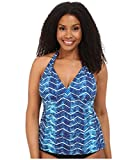 LAUREN Ralph Lauren Women's Plus Size Herringbone Halterkini w/Molded Cup Slimming Fit Ocean 20W