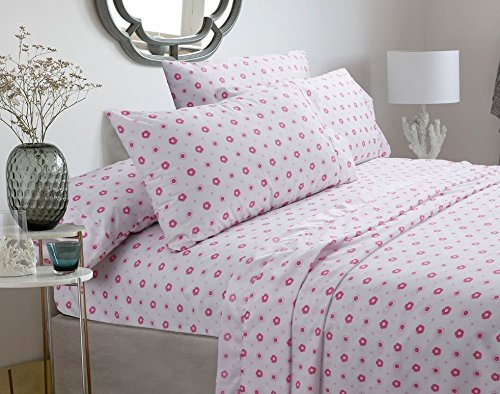 Cozy Line Home Fashions Greta Pastel Sheets Set - Pink Floral 100-percent Brushed Microfiber ... (Full Sheet -