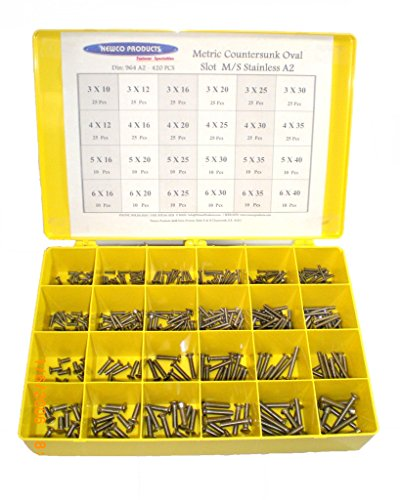 NEWCO PRODUCTS 964A2ASST- Metric Countersunk Oval Head Slot Machine Screw European Stainless Steel (A2) Assortment by NEWCO PRODUCTS