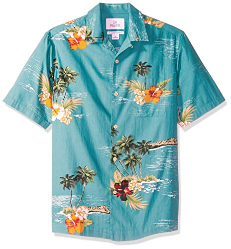 28 Palms Men's Relaxed-Fit 100% Cotton Tropical Hawaiian Shirt, Dark Aqua Scenic, X-Large