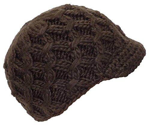 Angela & Williams Womens Knit Winter Skull Cap W/Crochet Visor (One Size) - Brown