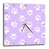 3dRose Lilac Purple & White Paw Print Pattern – Girly Pawprints Cute Cartoon Animal Dog or Cat Footprints – Wall Clock, 10 by 10-Inch (dpp_161529_1) For Sale