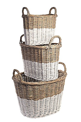 Vagbond Vintage, Set of Three Oval Willow Baskets, Grey Dipped White