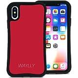 WAYLLY(ウェイリー) iPhone X ケース iPhone XS ケース アイフォンXケース アイフォンXSケース くっつくケース 着せ替え 耐衝撃 Qi対応 米軍MIL規格 [スモールロゴ レッド] MK