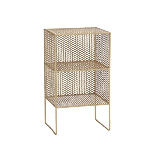 MDBLYJ Storage Shelf Bookshelf Floor Bookcase Modern Minimalist Mini Iron Bedside Table Storage Shelf Bedroom Bookcase Modern Minimalist Wall-Mounted Racks. (Color : Gold)
