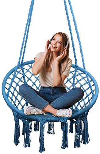 Showpin Hammock Chair Macrame Swing 330 Pound Capacity Handmade Hanging Swing Chair Prefect for Indoor/Outdoor Home Patio Deck Yard Garden Reading Leisure Blue