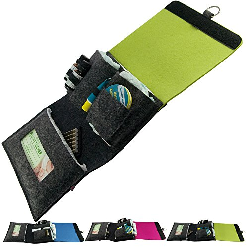 . ebos bolso cambiador gris/verde–Bolsa para pañales rollo de fieltro para pañales, toallitas, cremas, Baby de aceite, tiritas y globuli) para viajes