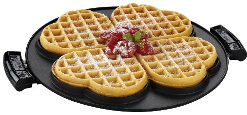 George Foreman GRP106WP 2 Removable Nonstick Heart-Shaped Waffle Plates, Black