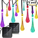 Binval 2-Pack Solar Waterdrop String Lights for Outdoor Patio Lawn Landscape Garden Home Wedding Holiday and Christmas decorations[19.7feet - 6m - 30LED-Multi Color]