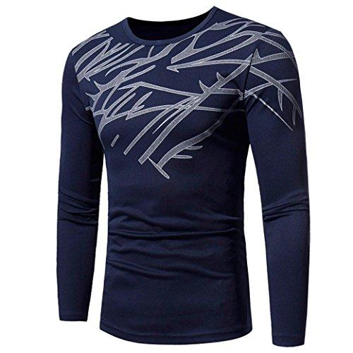 Realdo Long Sleeve T-Shirt for Men, Fashion Casual Slim Solid Print Crewneck Pullover Shirt Top(Navy,XX-Large) -