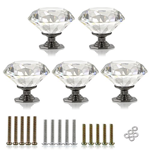 BTSKY 5 Pcs 50mm / 2 Inches Clear Glass Crystal Cabinet Knobs--Diamond Shape Wardrobe Large Door Knobs/Cupboard Drawer Pull Handle/Glass Dresser Knobs,Come with 3 kinds of Screws - Clear Glass Door Knob
