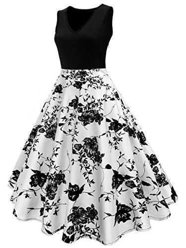 GAESHOW Vintage Dresses, Polka Dot Sleeveless Retro Floral Print Vest Skirt V-Neck Elegant Party Prom Dress (Black, (Polka Dot Prom Dress)