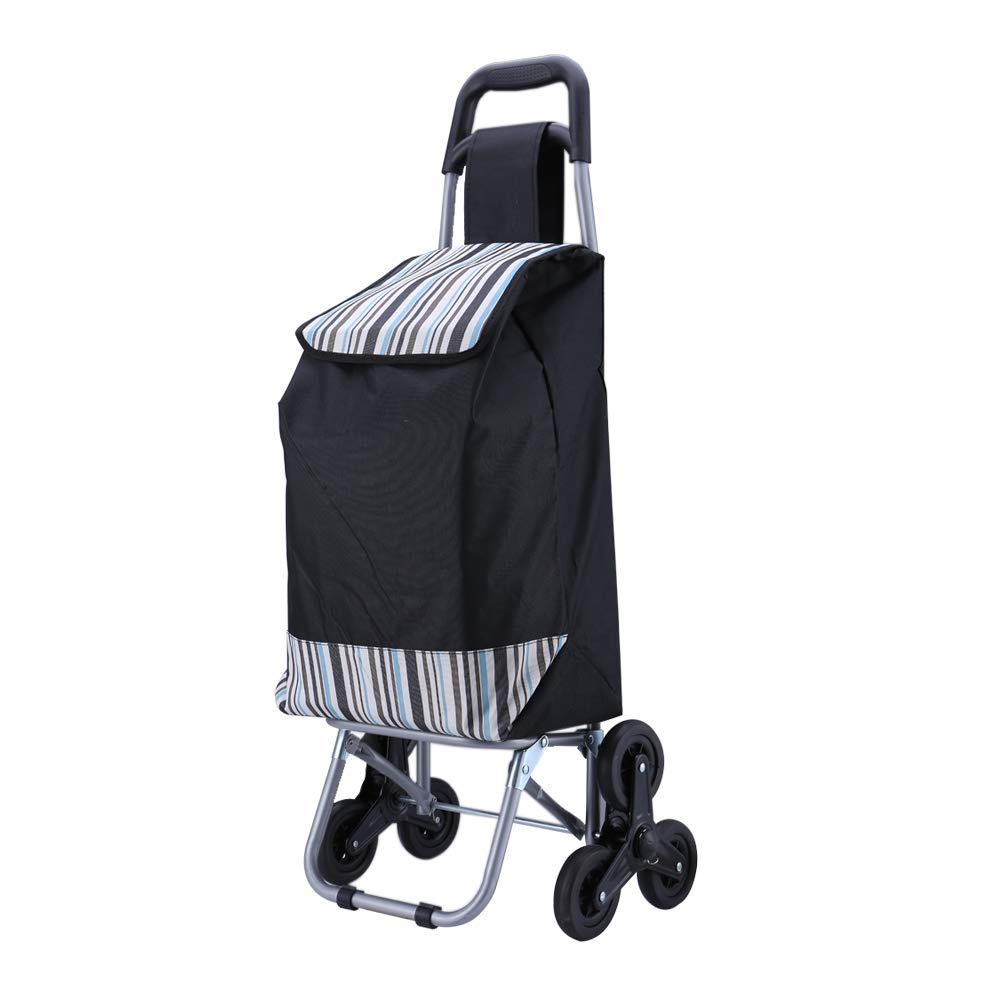 JEFEE Trolley Dolly Shopping Grocery Foldable Cart Stair Climber with Wheels Removable Utility Bag Light-Weight, Stripe