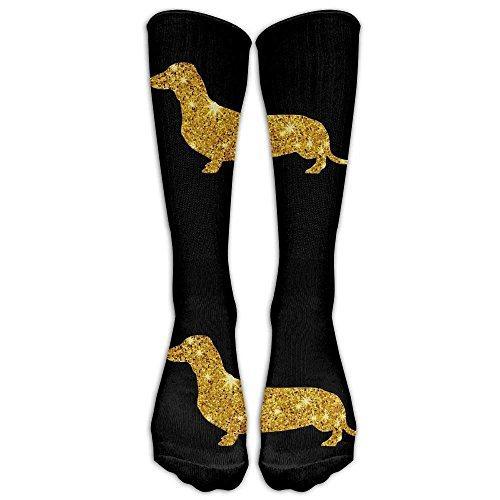 Glitter Gold Daschund Dog Casual Unisex Sock Knee Long High Socks Sport Athletic Crew Socks One Size -