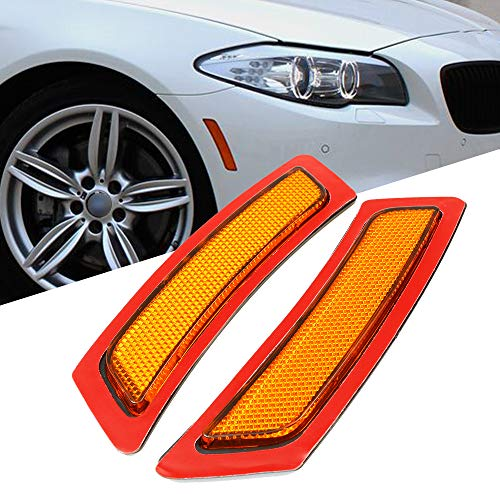 GSRECY 2pcs for BMW F10 5 Series 2011-2014 Front Side Marke Fender Bumper Reflector (Amber)