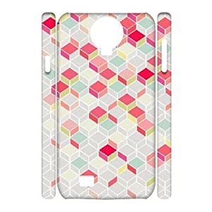 3D Jumphigh Geometric Chevron Samsung Galaxy S4 Cases Pop Arty, and a Bit Like a Quilt. Nice Retro Design Plus Modern, Summery Shades. Protective Cute for Girls, Samsung Galaxy S4 Case for Women Protective Cute for Girls [White]
