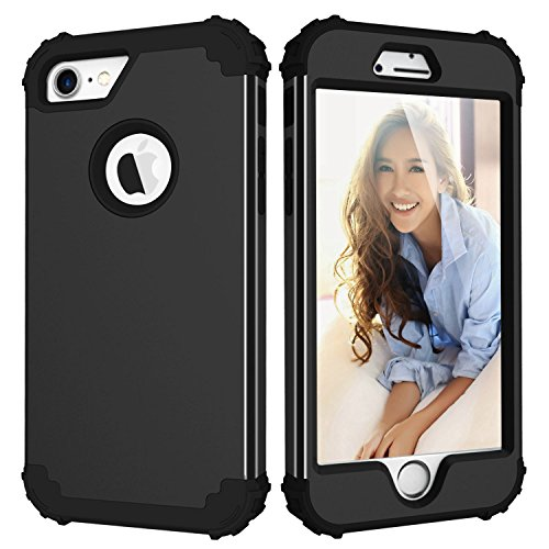 LONTECT Hybrid Heavy Duty Shockproof Full-Body Protective Case with Dual Layer Hard PC+ Soft Silicone Impact Protection for Apple iPhone 7, New Black