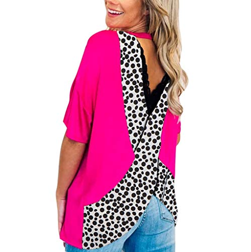 〓COOlCCI〓Womens Casual Tee Shirts Round Neck Half Sleeve Leopard Patchwork Backless Loose Fits Tunic Tops Blouses Hot Pink